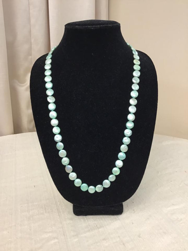 Silvertone Pale Green Pearls Necklace - Fashion Exchange Consignment