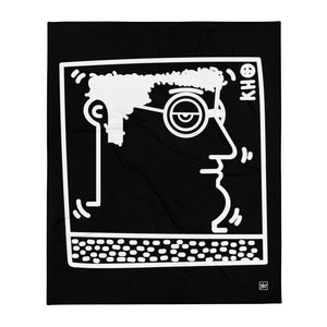 """Untitled"" (K. Haring tribute) Black - Throw Blanket / Coperta"