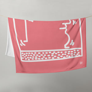 """Untitled"" (K. Haring tribute) Pink Throw Blanket / Coperta"