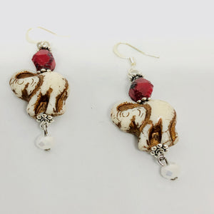 Ivory and Red Elephant Earrings