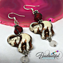 Load image into Gallery viewer, Ivory and Red Elephant Earrings