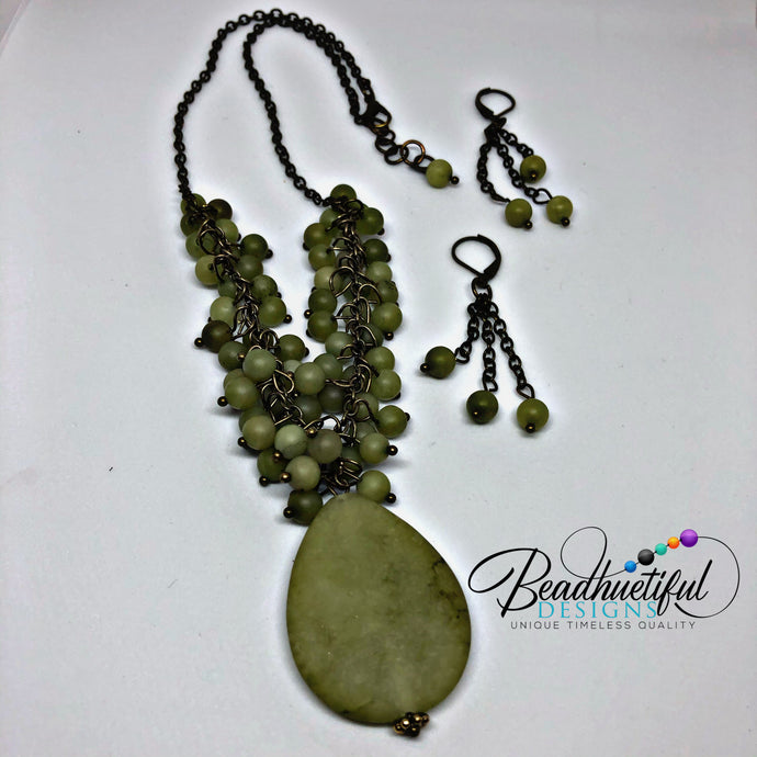 Jade and Antique Brass  Set
