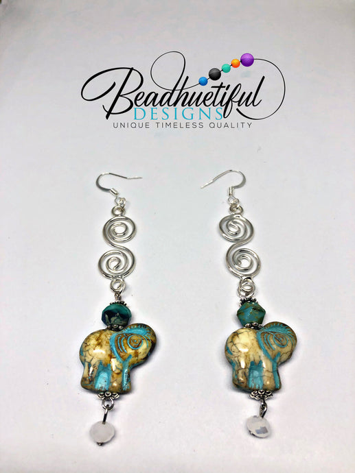 Elephant Over the Moon Turquoise and Gold