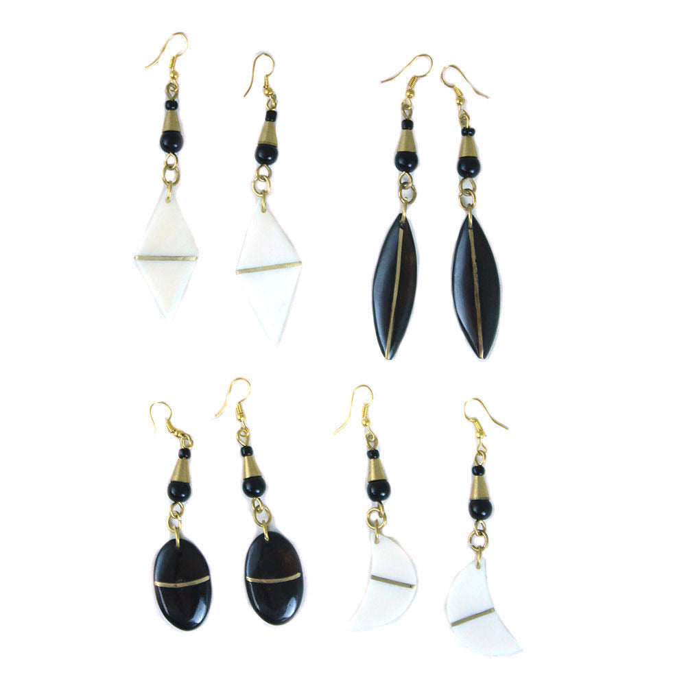 Bone and Brass Striped Earring Set