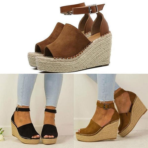 Platform Leather Wedge Sandals