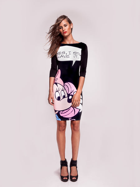Mickey Mouse Slim Dress With Medium Sleeves