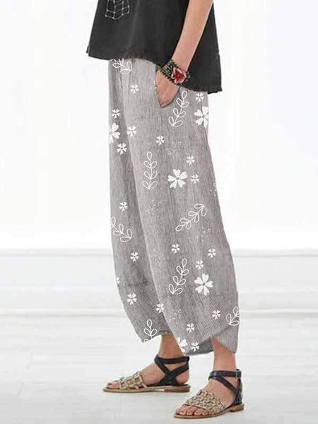wiccous.com Plus Size Bottoms light grey / S Casual Cotton Linen Small Flower Pants
