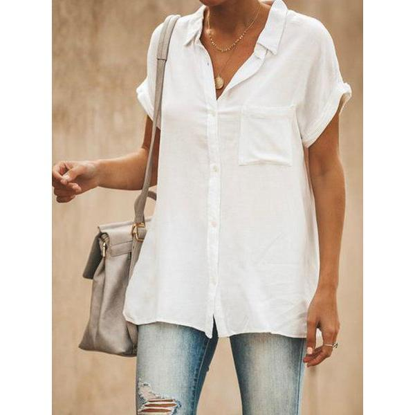 Women's V-neck Loose Long Hem Pocket Shirt
