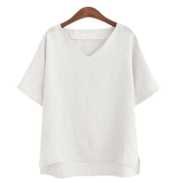 V-neck Solid color cotton and linen T-shirt