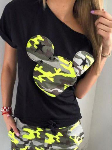 Mickey Mouse Applique Camouflage Sports And Leisure Suit