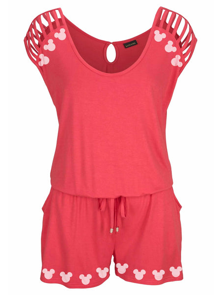Mickey Mouse Shoulders Hollow Out Jumpsuit