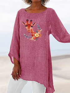 Fawn Printed Round Neck Long Sleeve Irregular T-Shirt