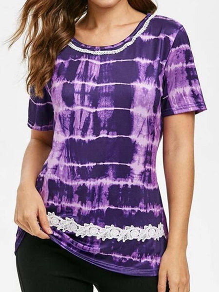 Tie-Dyed Printed Short-Sleeved T-Shirt