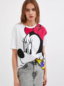 Mickey Mouse Printing White  T-shirt