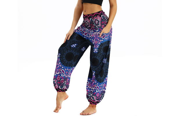 Ethnic Style Printed Yoga Pants