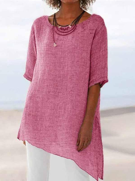 Asymmetrical Hem Crew Neck Shirts