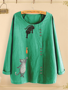 Round Neck Long Sleeve Cat Print T-Shirt