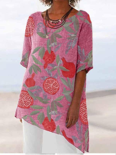 Pomegranate Printed Cotton And Linen Top