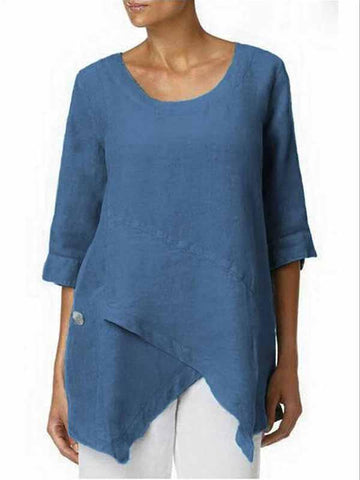 Round neck solid color top