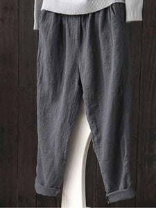 Linen Solid Color Casual Wide Pants