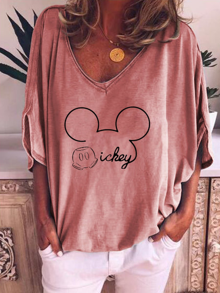 Mickey Mouse Loose Half Sleeve  T-shirt