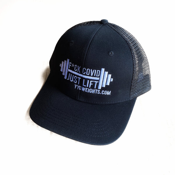 F*CK COVID - JUST LIFT Black Trucker Hat