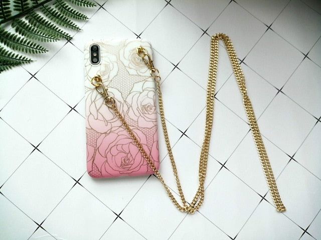 Samsung telefoon hoes met ketting All girls love flowers