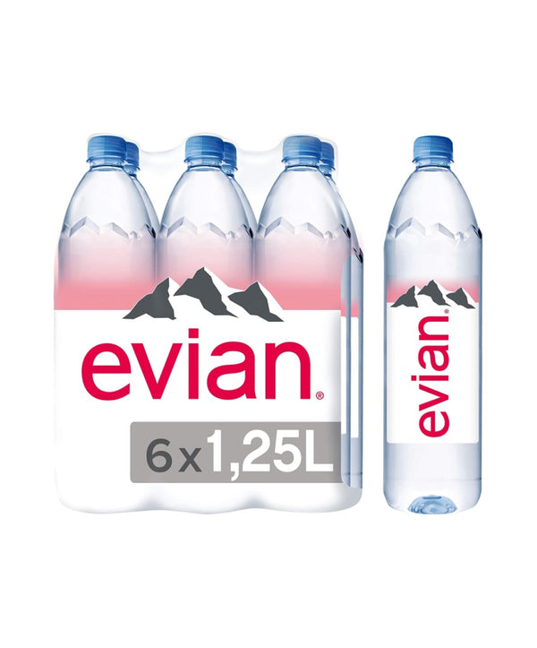 Evian Natural Mineral Water, 6 x 1.25L Bottles