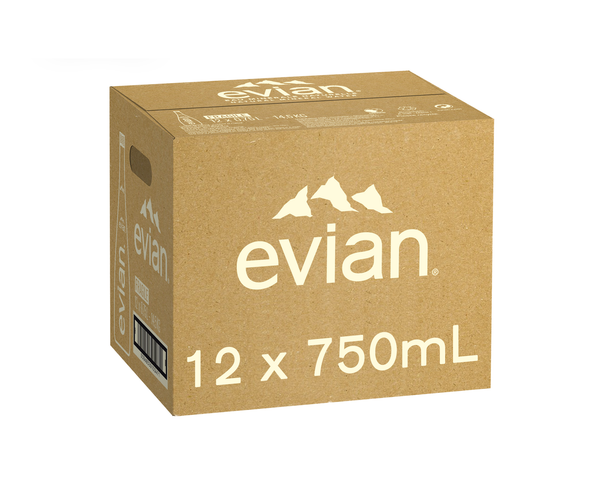 Evian Natural Mineral Water, 12 x 750ml Glass Bottles