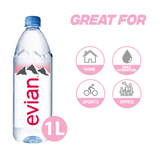 Evian Natural Mineral Water, 12 x 1L Bottles