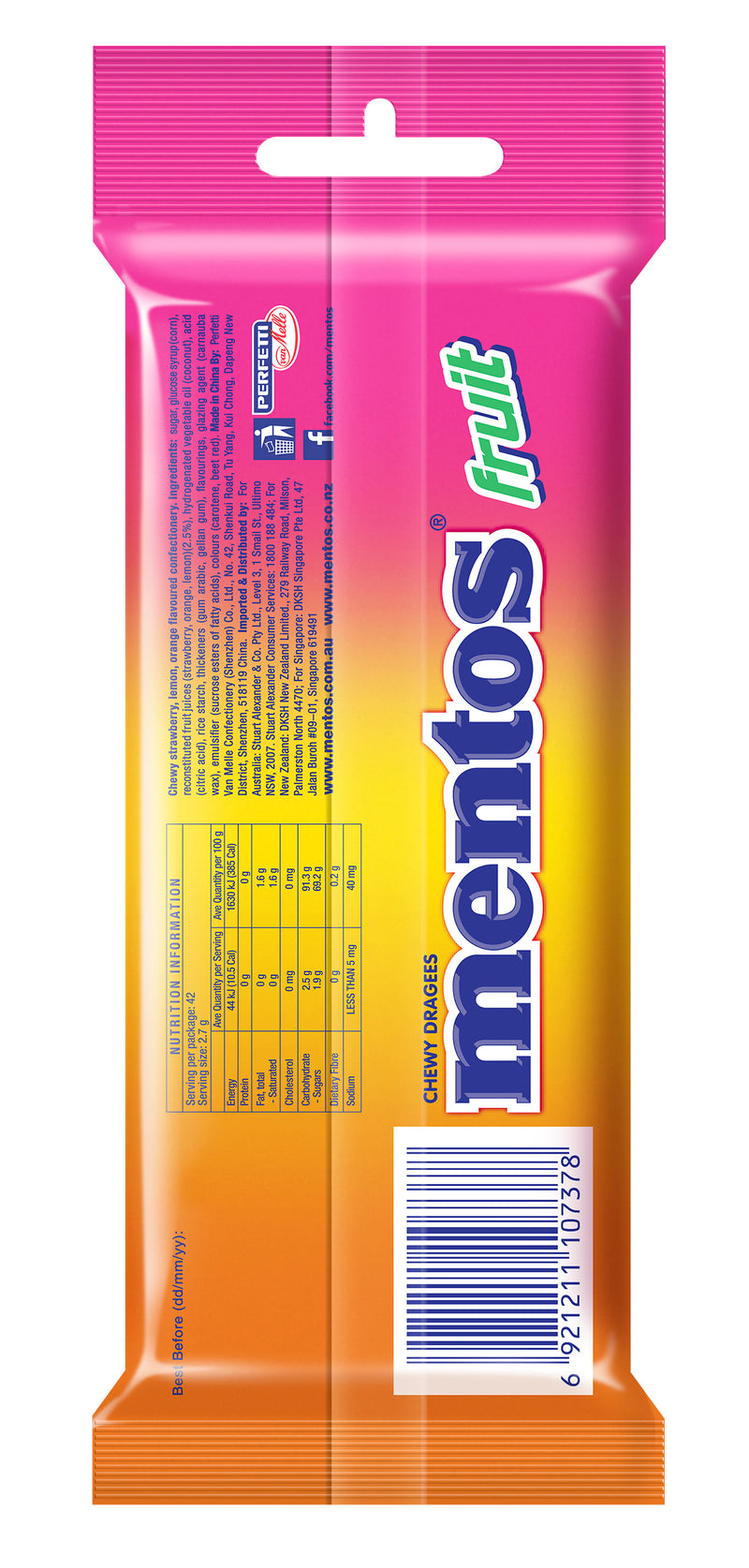 Mentos Fruit Candy Roll, 3 Pack x 20