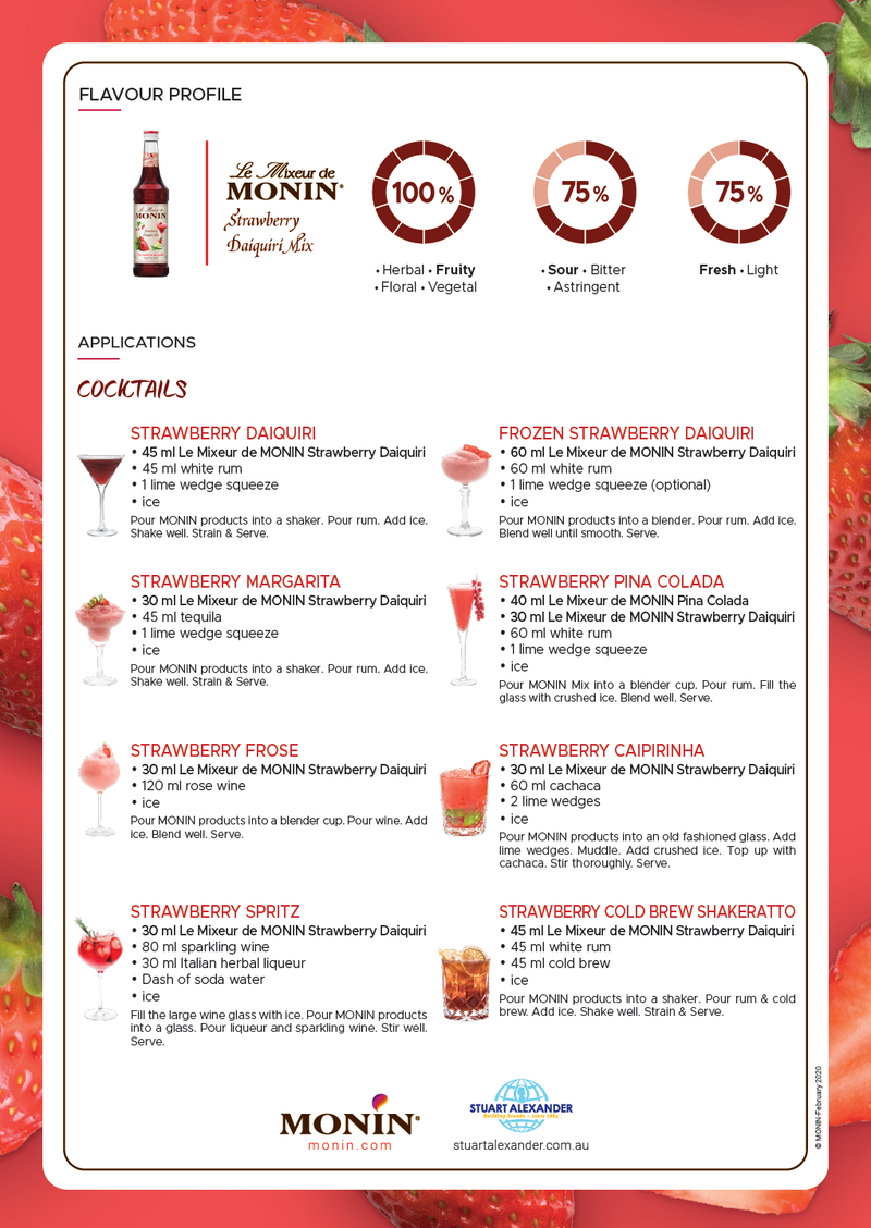 Monin Daiquiri Strawberry Cocktail Mix, 6 x 700ml