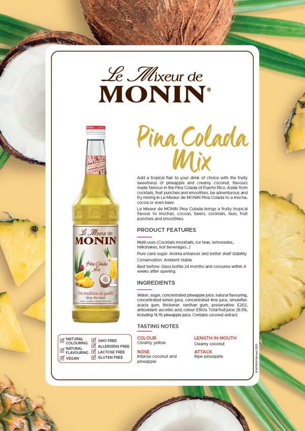 Monin Pina Colada Cocktail Mix, 6 x 700ml