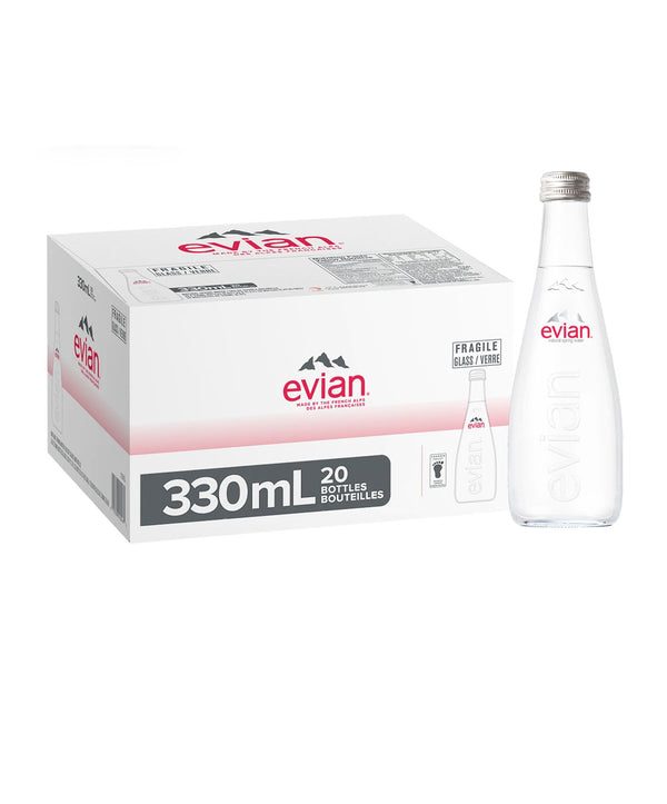 Evian Natural Mineral Water, 20 x 330ml Glass Bottles
