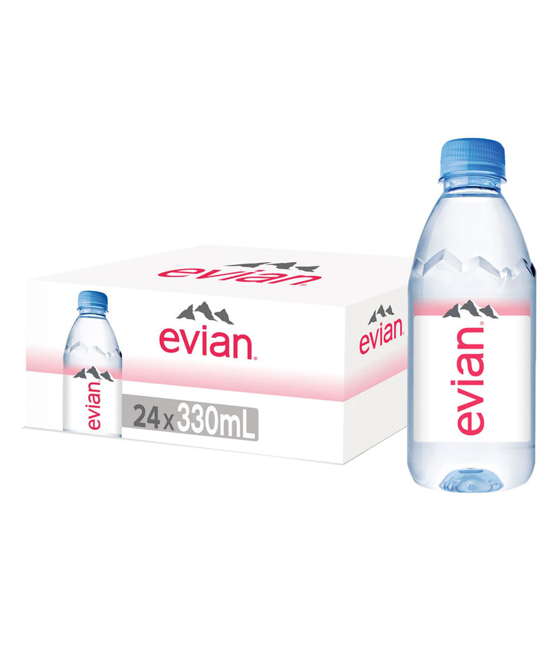 Evian Natural Mineral Water, 24 x 330ml Bottles