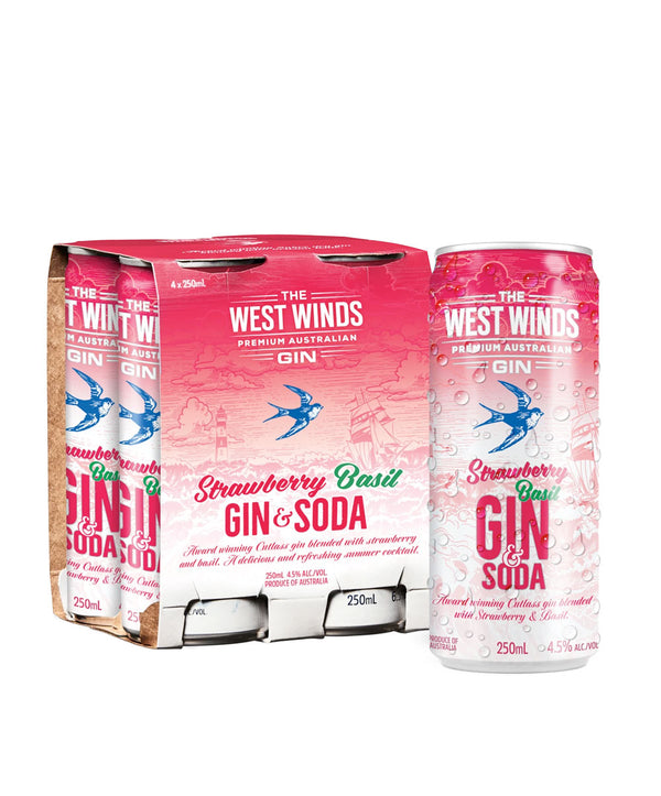 The West Winds Strawberry, Basil, Gin and Soda, 24 Cans