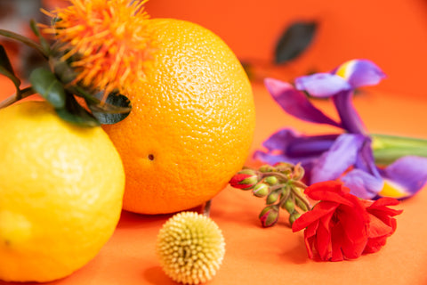 Oranges and purple flowers. Akt Londond deodorant