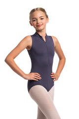 Girls Zip Front Leotard with Dragonfly Print