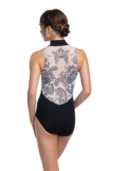 Zip Front Leotard with Paisley Print