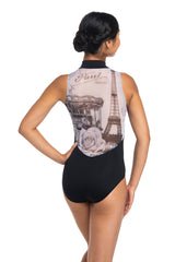 Zip Front Leotard with Paris Print