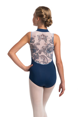 Girls Zip Front Leotard with Paisley Print