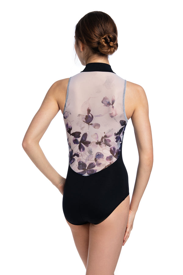 Zip Front Leotard with Frosted Petal Print
