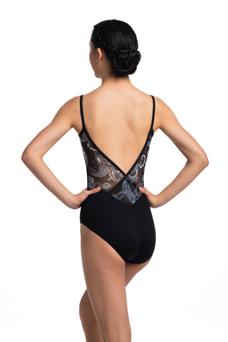 Allegra Pinch Leotard with Paisley Print