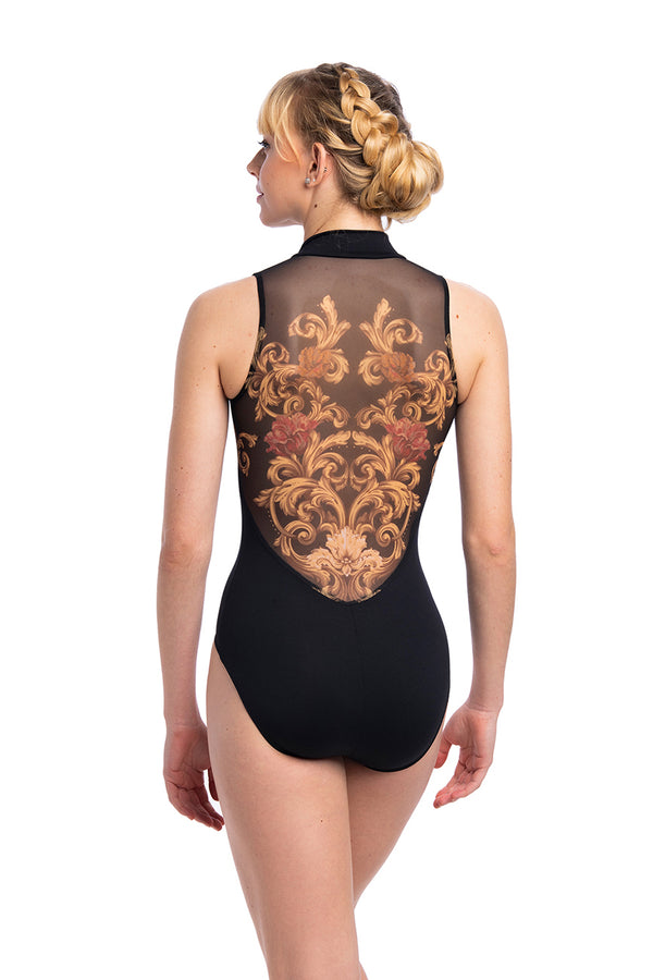 Zip Front Leotard with Grand Elegance Print