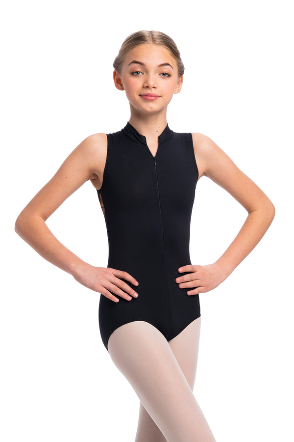 Girls Zip Front Leotard with Grand Elegance Print