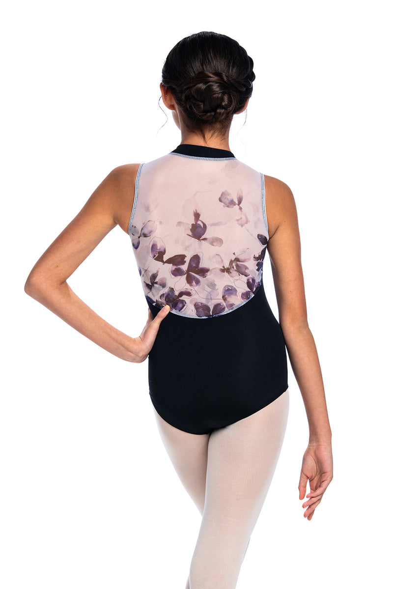 Girls Zip Front Leotard with Frosted Petal Print