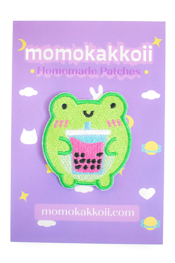 Kawaii Boba Froggy Embroidered Patch