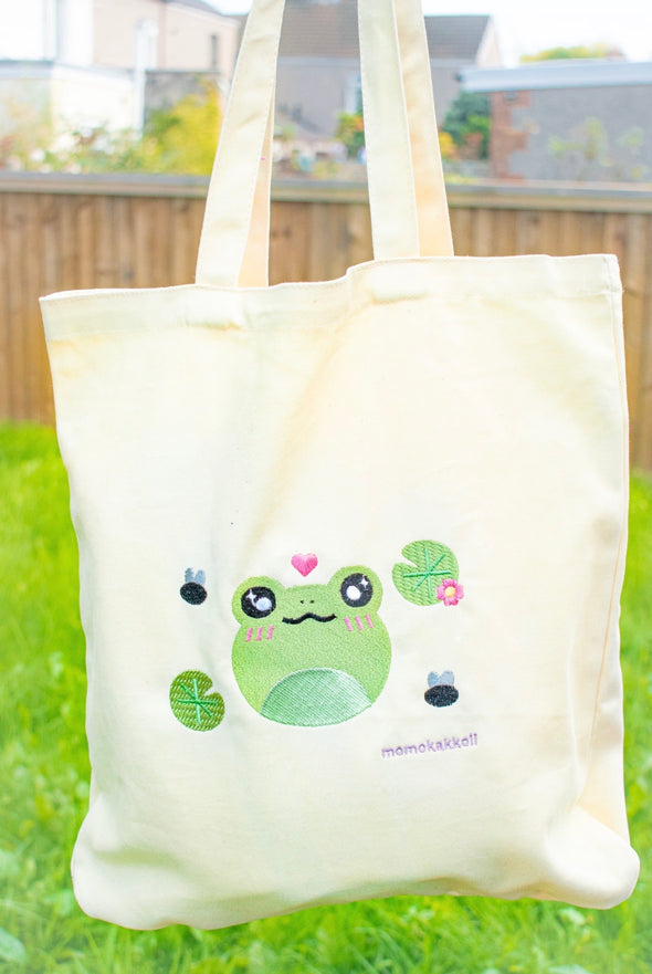 Organic Cotton Froggy Tote Bag - Momokakkoii