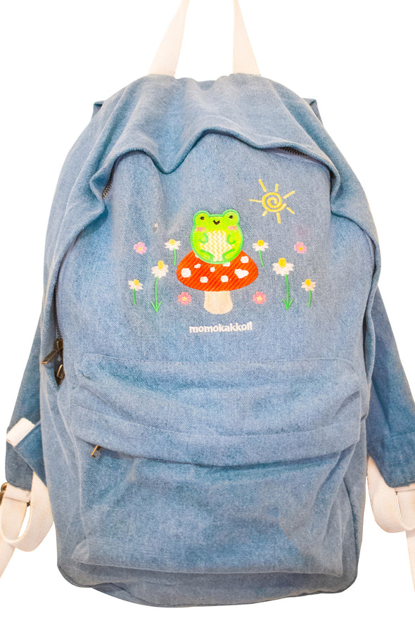 Froggy & Nature Embroidered Denim Backpack - Momokakkoii