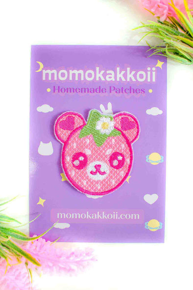 Strawberry Bear Embroidered Patch - Momokakkoii